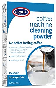 Urnex Coffee Maker and Espresso Machine Cleaner Cleancaf Powder - 3 Packets - Safe On Keurig Delonghi Nespresso Ninja Hamilton Beach Mr Coffee Bruan and More
