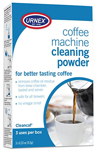 Urnex Coffee Maker and Espresso Machine Cleaner Cleancaf Powder - 3 Packets - Safe On Keurig Delonghi Nespresso Ninja Hamilton Beach Mr Coffee Braun (Clean Coffee Maker)