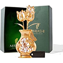 Mothers Day Gift – Crystal Studded Flowers in a Vase Ornament, Beautifully Crafted with 24K Gold, Pink Crystals & a Decorative Butterfly - Mothers Gifts - Great Gift Idea for Mom by Matashi