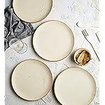"Miah Decor Handcrafted Ceramic Stoneware Quarter Plates Set of 4 (MD-76), White Matte Finish Ribbed Plates Dia - 7"" Each, Microwave Safe, Freezer Safe, Dishware Safe"