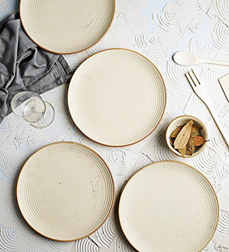 Miah Decor Ribbed Cream Stoneware Dinner Plates(10 inch Dia) – Set of 4 Price & Reviews