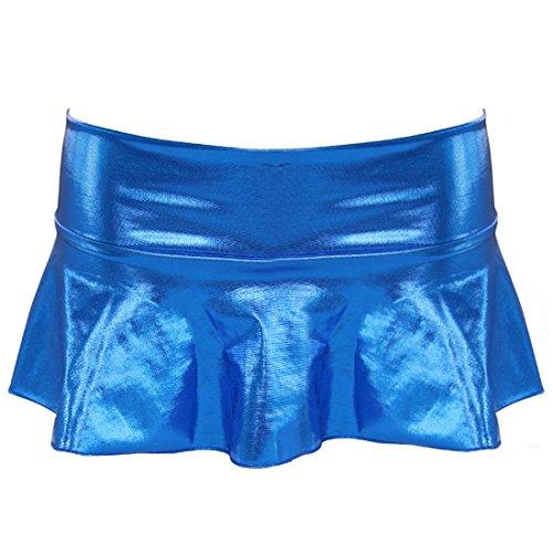Yizyif Cuir String Unique Mini Bleu De Mouillé Avec Jupe Taille Sécurité Aspect Femmes FrgxUFnp