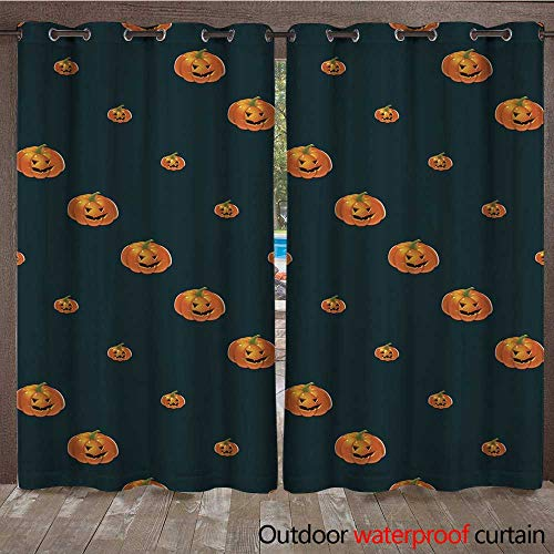 RenteriaDecor Outdoor Ultraviolet Protective Curtains Halloween Background with Pumpkins W96 x L108 -