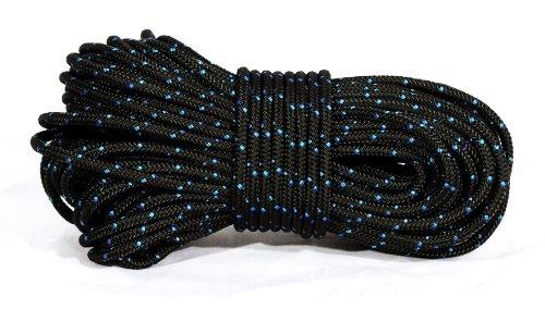"3/16"" (4.5mm) Rhythm Traders Djembe Rope 100 feet - Black w/ Blue Flecks"