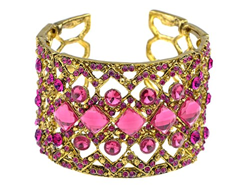 (Alilang Womens Rhinestone Bracelet Exotic Golden Tone Fuchsia Pink Crystal Cuff Bangle)