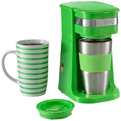 HOBERG Café-BoXX, Single Kaffeemaschine inklusive Thermobecher und Porzellantasse, grün
