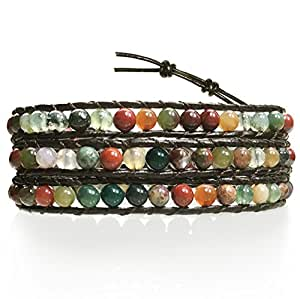 """BLUEYES COLLECTION """"Hot"""" Mix Color India Agate Stainless Steel Snap Button Lock Genuine Leather Bracelet"""