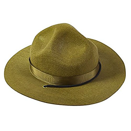 (Funny Party Hats Park Ranger Hat - State Trooper Costume - Mountie Olive Green Hat - Drill Sergeant)