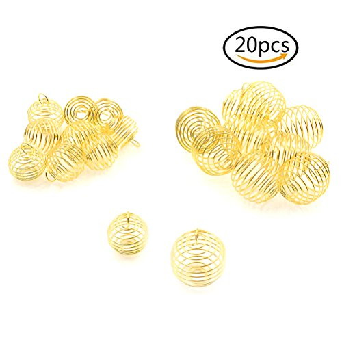 Yiphates 20 Pcs Spiral Bead Cages Pendants for Jewelry Making, Decoration Gold (25mm, 30mm) -