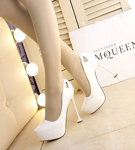 Shoes High Leisure Head 37 Platform Work Single Spring Heels Shoes Thin Shoes Lady Waterproof Wedding White Elegant Thin Heels Sharp 13Cm Work MDRW qt84Rvxwx