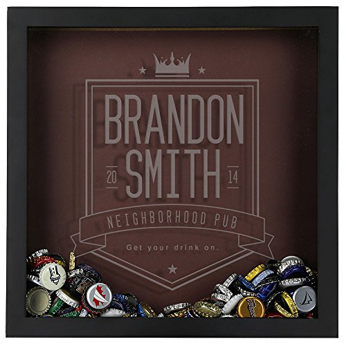 Personalized Beer Cap Shadow Box, Bottle Cap Collector, Engraved, Neighborhood Pub