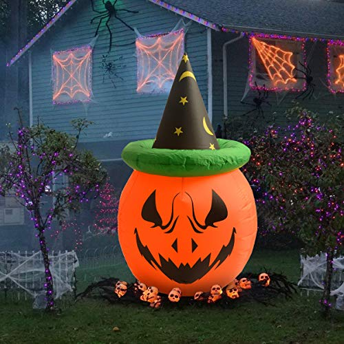 NewAim 4 Foot Halloween Inflatable Air Blown Pumpkin with Hat Lighted for Home Yard Garden Indoor and Outdoor Decoration