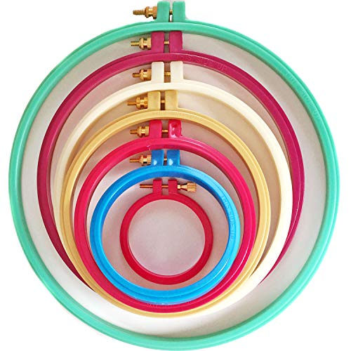 Plastic Embroidery Hoop - Embroidery Hoops Plastic Cross Stitch Hoop 7 Pcs - Embroidery Circle Set Multicolor-for Child's Art Craft Sewing& Hang Decoration LE PAON