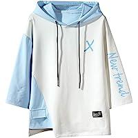 GURUNVANI Mannen kleur blok lange mouw Casual Fashion Hip Hop Hooded Sweatshirt Shirt