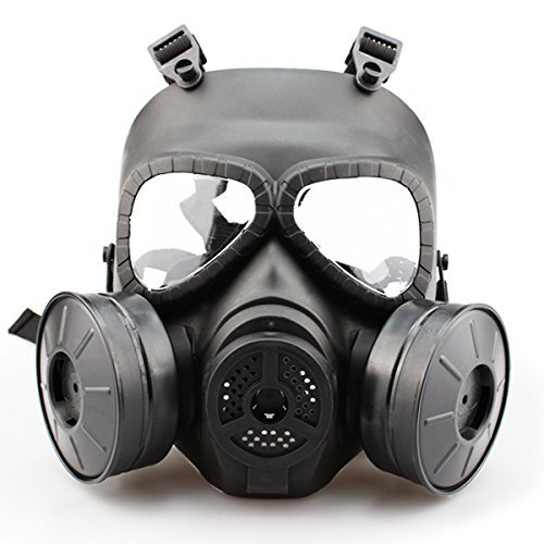 SHARPTECK Airsoft Mask Outdoor Sports Tactical Paintball Full Face Skull CS Mask with Double Filter Fan Anti Fog Face Guard -