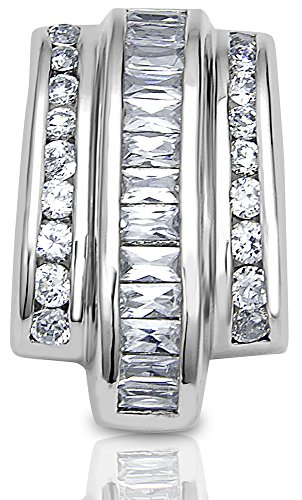 Sterling Manufacturers Women's Sterling Silver .925 Pendant Slider with Baguette Cubic Zirconia (CZ) Stones, Identical Appearance to Platinum or White Gold. Original - Earring Zirconia Baguette Cubic Stone