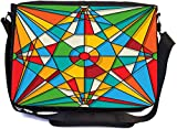 Rikki Knight Abstract Stained Glass Window Design Design Combo Multifunction Messenger Laptop Bag - with Padded Insert for School or Work - Includes Wristlet & Mirror