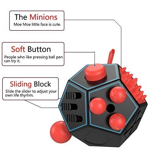 WCZC 12 Sided Fidget Cube,Fidget Dodecagon Toy Anti-Anxiety,Relieves Stress and Autism for Kids ,Teens and Adults (Red) by WCZC (Image #1)