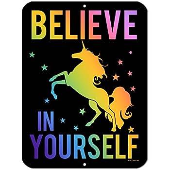 Amazon Com Believe In Yourself Rainbow Unicorn 5 X 10