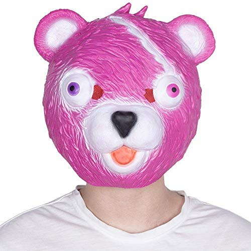 LXIANGP Latex Hood Halloween Costume mask Costume Ball Pink Bear mask Game COS Props
