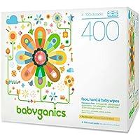 Babyganics Toallitas para Cara, Manos y Bebés, Sin fragancia, Incluye 400 (Contiene cuatro 100-Count Packs)