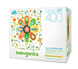 Babyganics Face, Hand & Baby Wipes, Fragrance Free, 400 Count (Contains Four 100-Count Packs) Image