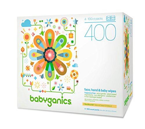 Babyganics Face, Hand & Baby Wipes, Fragrance Free, 400 Count (Contains Four...