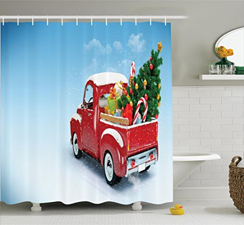 Christmas Shower Curtain by Ambesonne, Red Classical Pickup Truck with Tree Gifts and Ornaments Snowy Winter Day Image, Fabric Bathroom Decor Set with Hooks, 70 Inches, Blue Red