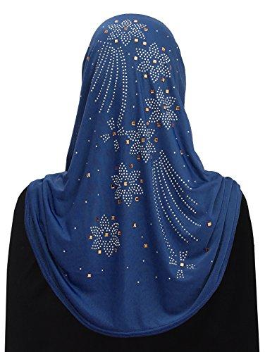 Al Amira Aiyah Hijab Ultra Silky Lycra in Fire Flower Design (Blue)