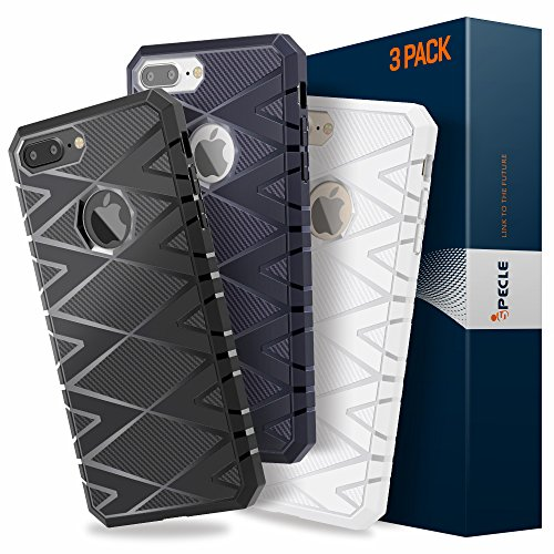 iPhone 7 Plus Funda, iSPECLE Fibra de Cabrono Funda Impermeable de iPhone 7 Plus con TPU Choque-absorición Protección Funda Carcasa para Apple iPhone 7 Plus Negro 3 Paquetes iPhone 7 Plus