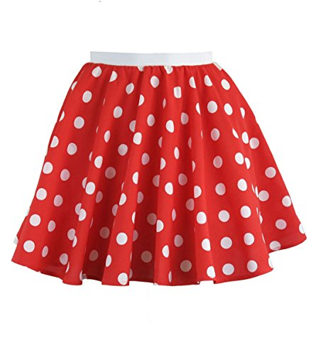 MA ONLINE Kids Fancy Dress Polka Dot Skirt Girls 80s Theme Party Casual Elasticated Skirt Red/White 5-10 Years