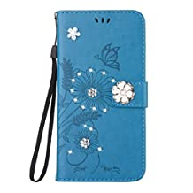 iPhone 6 Glamour Rhinestone Case,Inspirationc 3D Handmade Shiny Glitter Butterfly Lotus Case PU Leather Credit Card Stand Wallet Cover with Strip for iPhone 6/6S 4.7 Inch--Blue