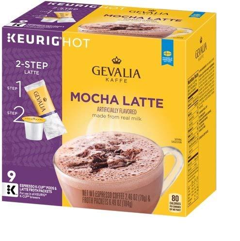 Gevalia Mocha Latte Espresso Coffee K-Cup Packs & Froth Packets 9 ct Box