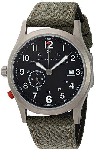 Momentum Men's Quartz Titanium and Canvas Dress Watch, Color:Green (Model: 1M-SP60B6G)