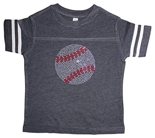 FanGarb Little Girls Rhinestone Bedazzled Navy Baseball tee Shirt 8yr (Youth Small)