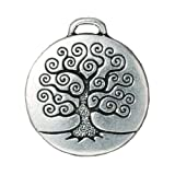 Fine Silver Plated Pewter Round Tree Of Life Pendant 26mm (1)