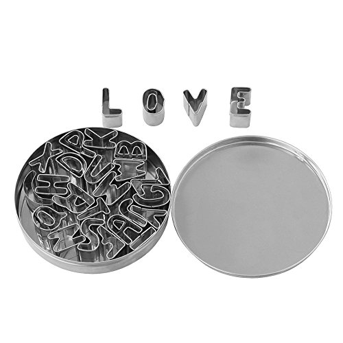Homgaty 26 Alphabet Letters Cookie Cake Cutter Set with Tin Box Stainless Steel Baking Tool Kitchen DIY -