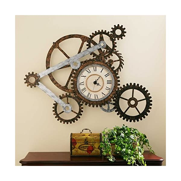 Vory Old Fashioned Wall Clock Metal Rustic Modern Industrial Steampunk Bedroom Decor 100x82cm 5