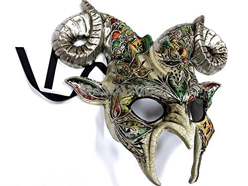 Silver Teal Goat Mask Animal Ram Venetian Masquerade Halloween Cosplay Big Horns mask -
