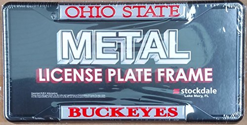 Ohio State Buckeyes SD Deluxe BLACK Metal License Plate Frame Tag Cover University of