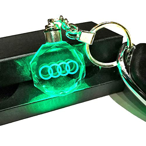 VILLSION 7 Color Changing Car Emblem Keychain with LED Light Car Key Chain Interior Pendant Accessories]()