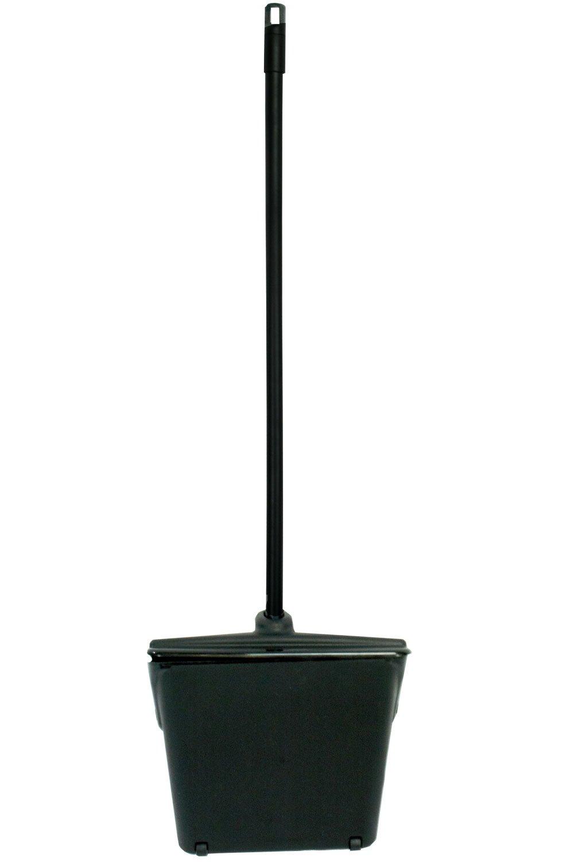 Janico 1088 Bristles Hooded Dustpan, Hood Closes Automatically, Swing Hopper, Aluminum Handle, Black