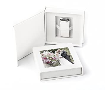 USB Stick 16 GB en elegante caja USB con imagen Fenster. para bodas, Fotógrafos