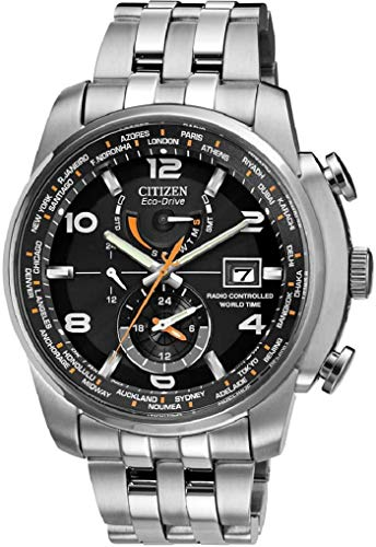 Amazon.com: Mens Watch Citizen AT9010-52E Eco-Drive Radio Controlled World Time Stainless S: Watches