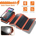 Solar Charger 20000mah 4 5w Qi Wireless Charger Portable Power Bank External Battery Pack With 3 Solar Panels Flashlight Dual 5v 2 1a Usb Port Ip65 Rainproof For Camping Hiking Fishing Orange