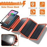 Solar Charger 20000mAh, 4.5W Qi Wireless Charger Portable Power Bank External Battery Back with 3 Solar Panels, Flashlight, Dual 5V/2.1A USB Port, IP65 Rainproof for Camping Hiking Fishing(Orange)