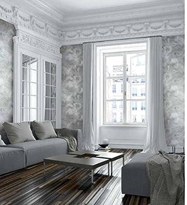 Mayflower Wallpaper (Silver) Marble Metallic Modern Cool Silhouette