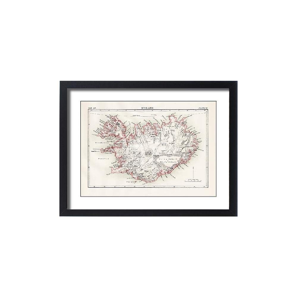Media Storehouse Framed 24x18 Print of Iceland map 1881 (13611535) by Media Storehouse (Image #1)