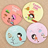 YChoice Cute Baby Toy Mini Round Cartoon Girl Pattern Small Glass Mirrors Circles for Crafts Decoration Cosmetic Accessory