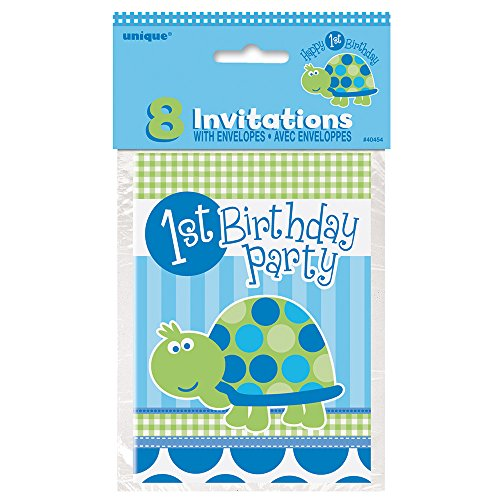 1st Birthday Invite - Turtle 1st Birthday Invitations, 8ct